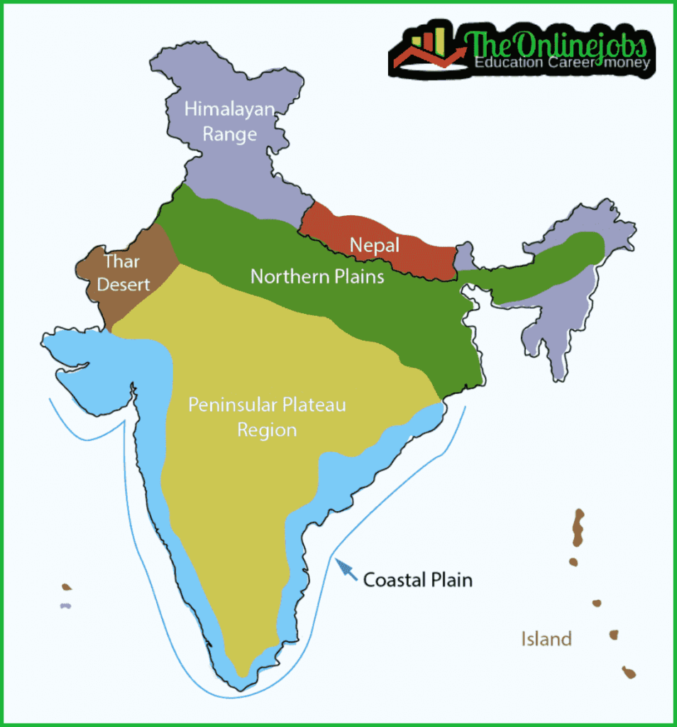 physical features of map of india